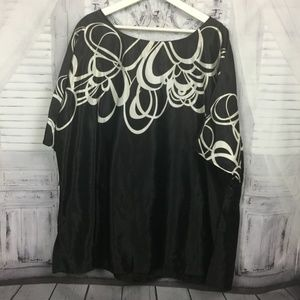 Lane Bryant Black White Scroll Print Top 22/24
